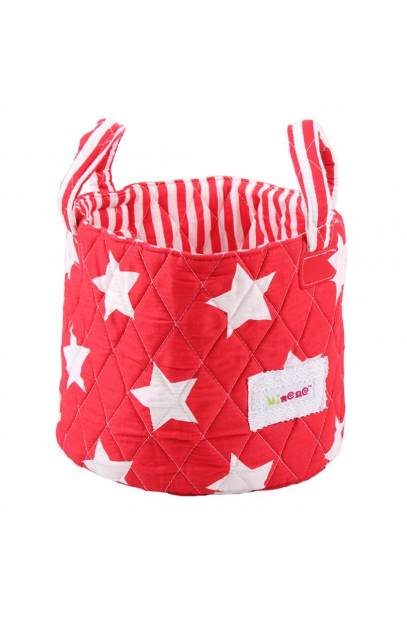 Cesta de tela peque a estrellas rojo buboo baby kids - Cestos de tela ...
