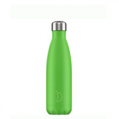 Botella Chilly's acero inoxidable Verde Neón 500ml