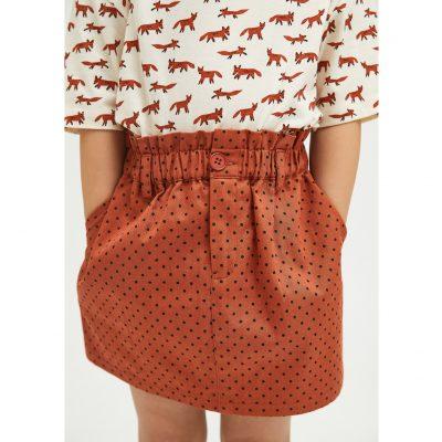 Falda Paper Bag de Niña con Estampado de Lunares Marrón