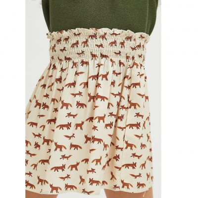 Falda de niña Evasé con Animal Print de Zorros
