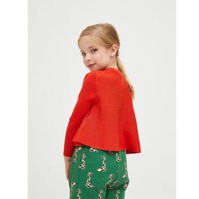 Jersey de niña Evasé con Cuello Redondo Rojo