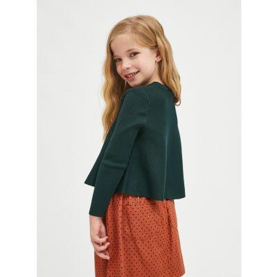 Jersey de niña Evasé con Cuello Redondo Verde