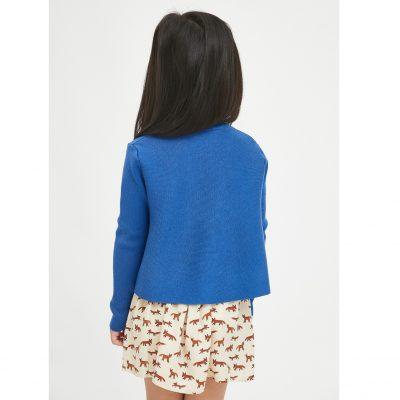 Jersey de niña Evasé con Cuello Redondo Azul