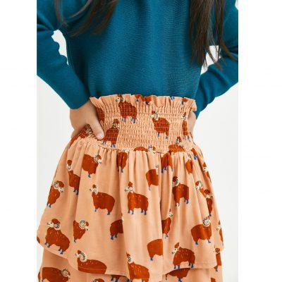 Falda de Niña Evasé con Animal Print de Carneros