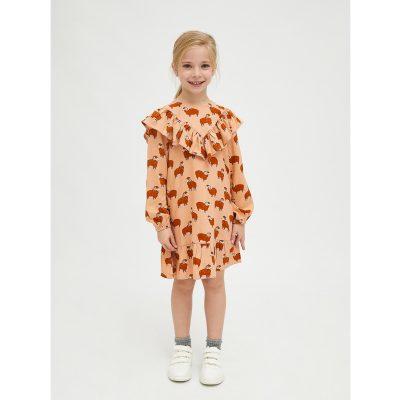 Vestido de Niña Evasé con Animal Print de Carneros