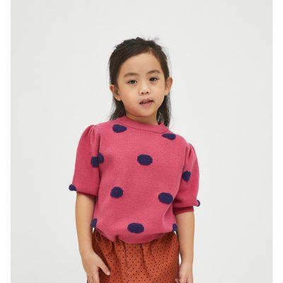 Jersey de niña con Estampado de Lunares Rosa