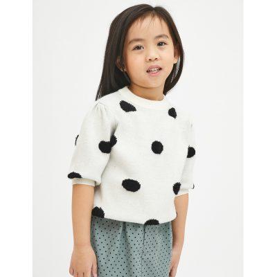 Jersey de niña con Estampado de Lunares Blanco