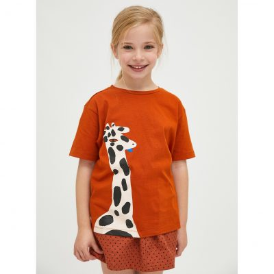 Camiseta Unisex de Algodón con Animal Print de Jirafas