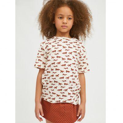 Camiseta Unisex de Algodón con Animal Print de Zorros