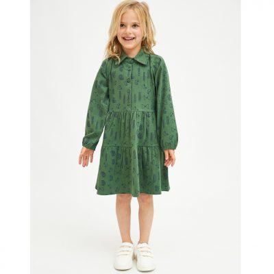 Vestido de Niña Evasé con Estampado Geométrico de Pasta